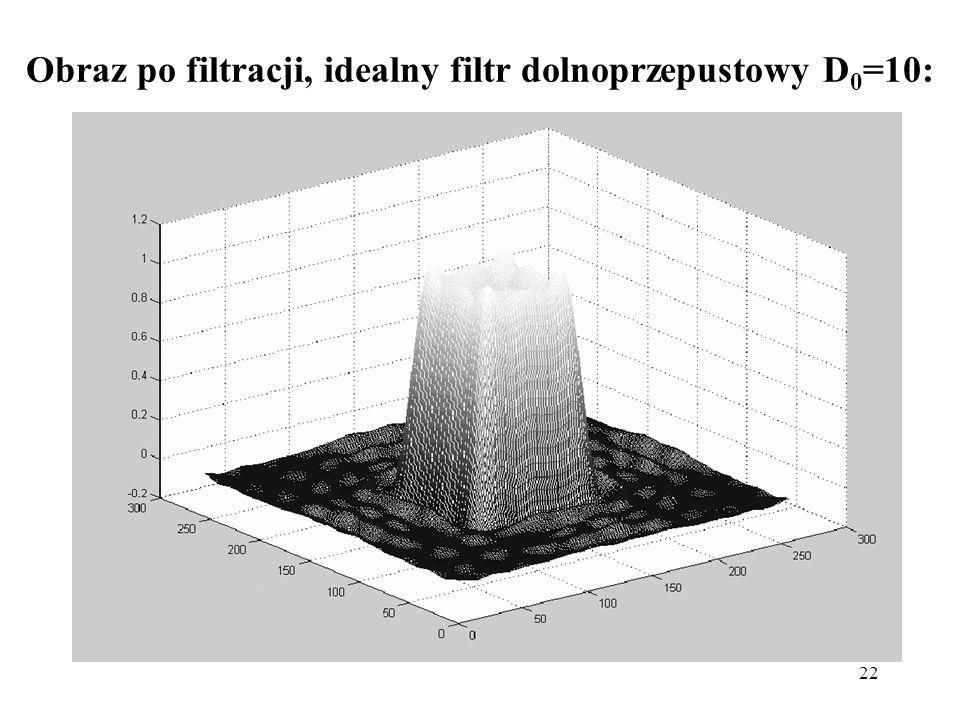 Obraz po filtracji, idealny filtr dolnoprzepustowy D0=10: