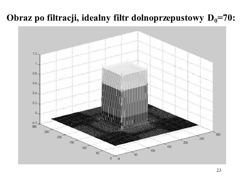Obraz po filtracji, idealny filtr dolnoprzepustowy D0=70: