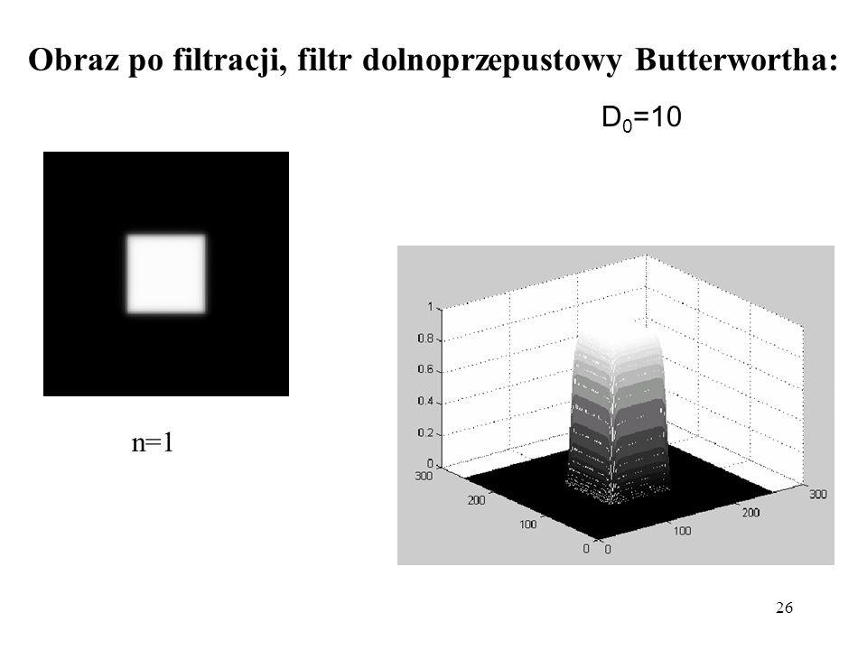Obraz po filtracji, filtr dolnoprzepustowy Butterwortha: