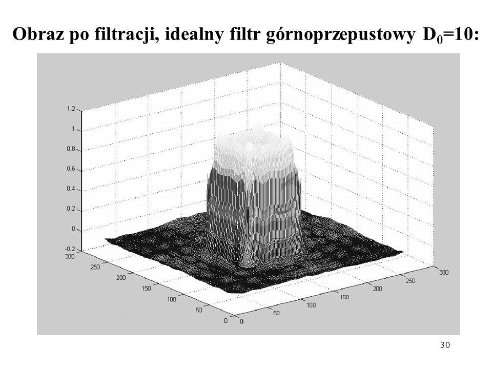 Obraz po filtracji, idealny filtr górnoprzepustowy D0=10: