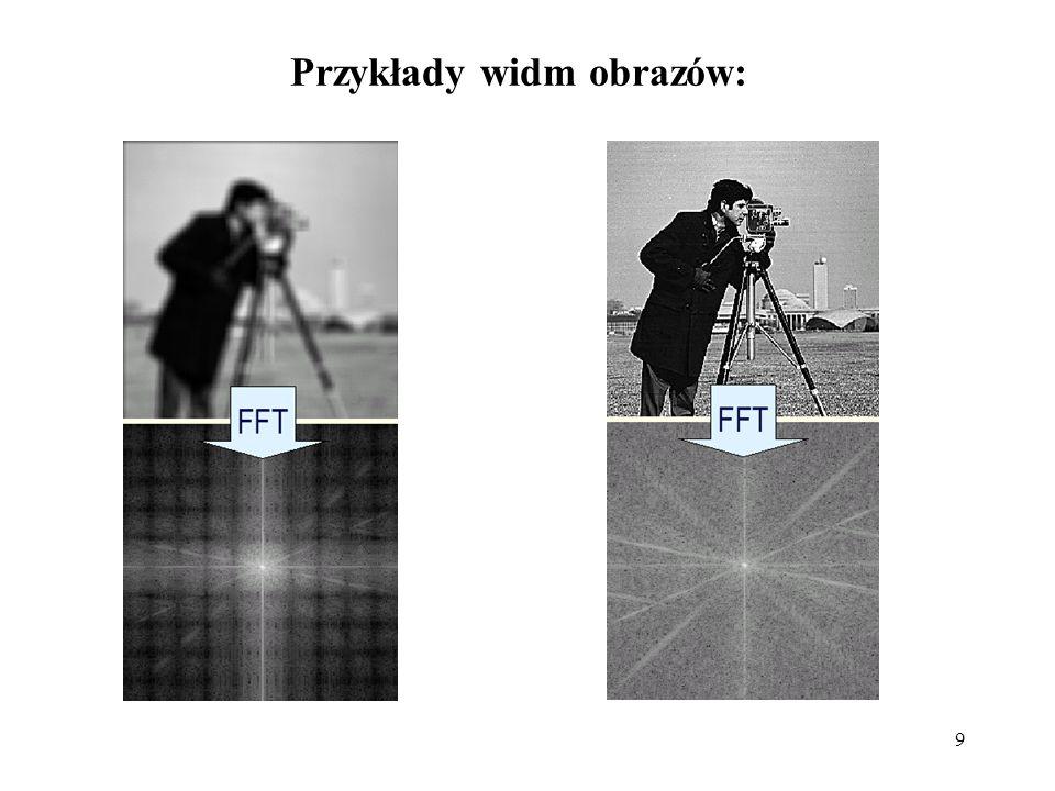 Przykłady widm obrazów: