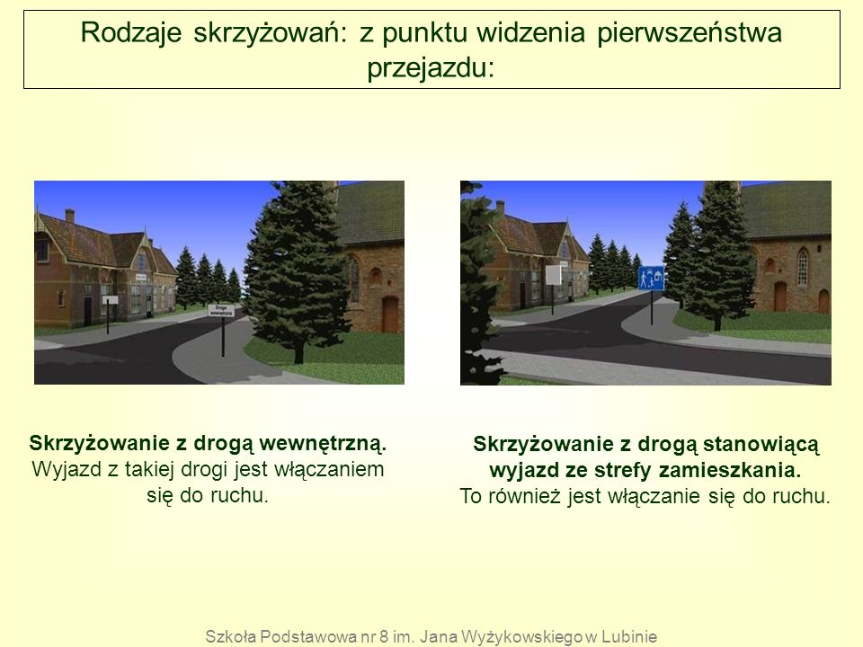 Rodzaje skrzyżowań: z punktu widzenia pierwszeństwa przejazdu: