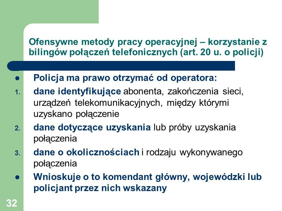 Ofensywne metody pracy operacyjnej – korzystanie z bilingów połączeń telefonicznych (art. 20 u. o policji)
