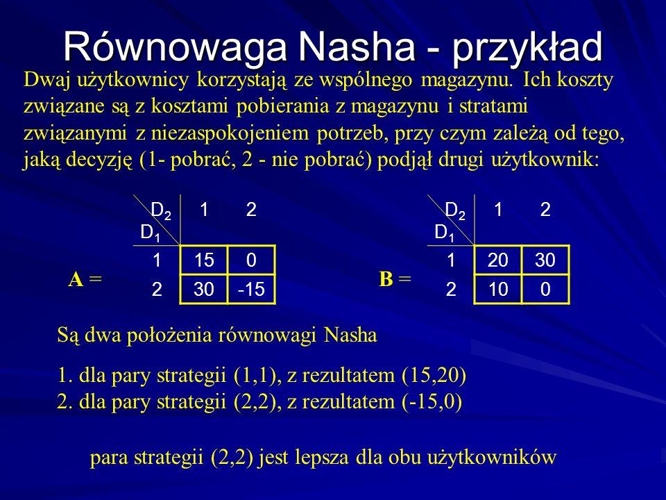 Równowaga Nasha - przykład