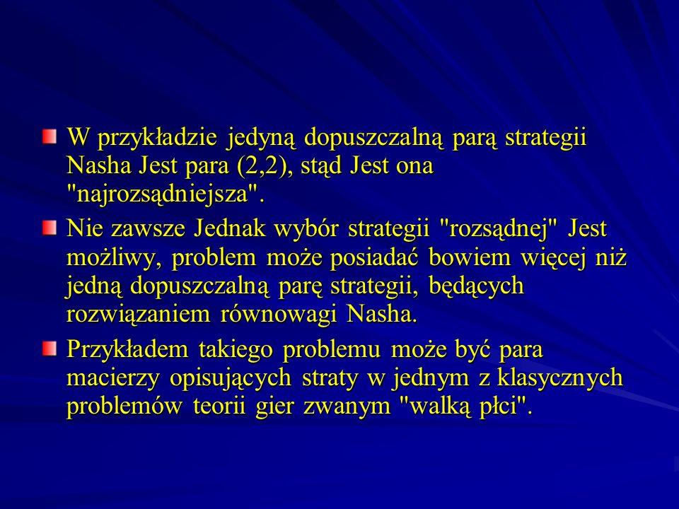 W przykładzie jedyną dopuszczalną parą strategii Nasha Jest para (2,2), stąd Jest ona najrozsądniejsza .