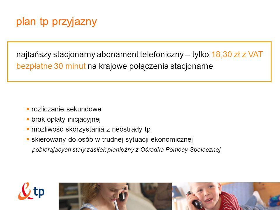 27 plan tp przyjazny. najtańszy stacjonarny abonament telefoniczny – tylko 18,30 zł z VAT. bezpłatne 30 minut na krajowe połączenia stacjonarne.