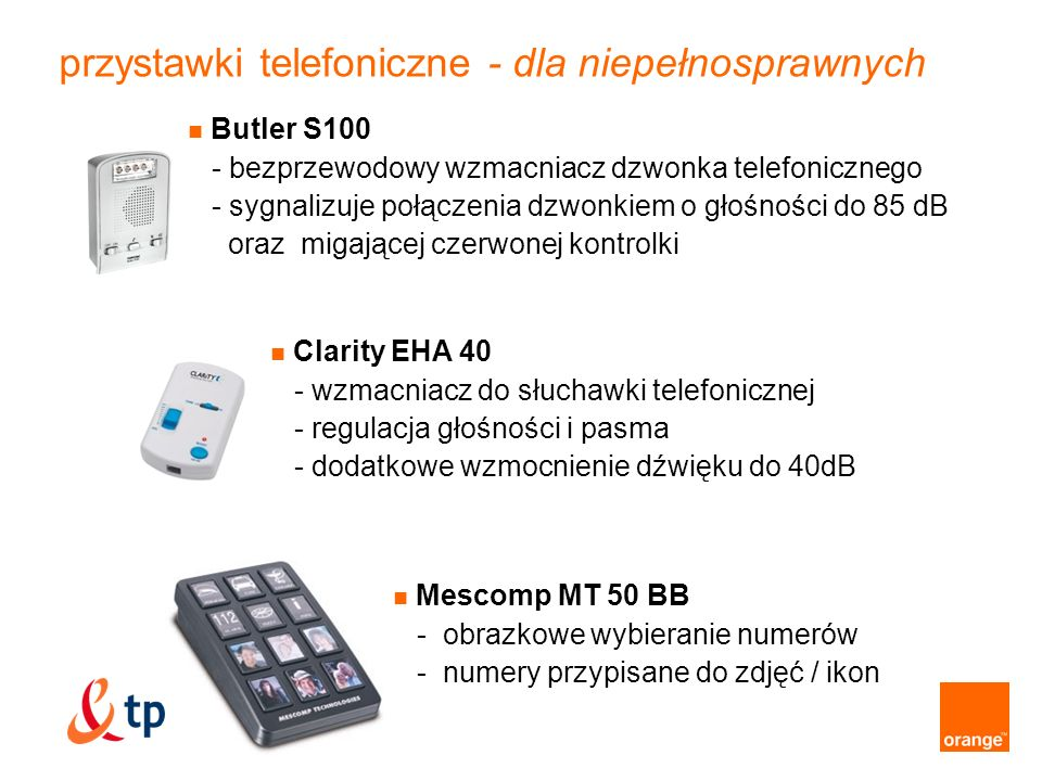 przystawki telefoniczne - dla niepełnosprawnych
