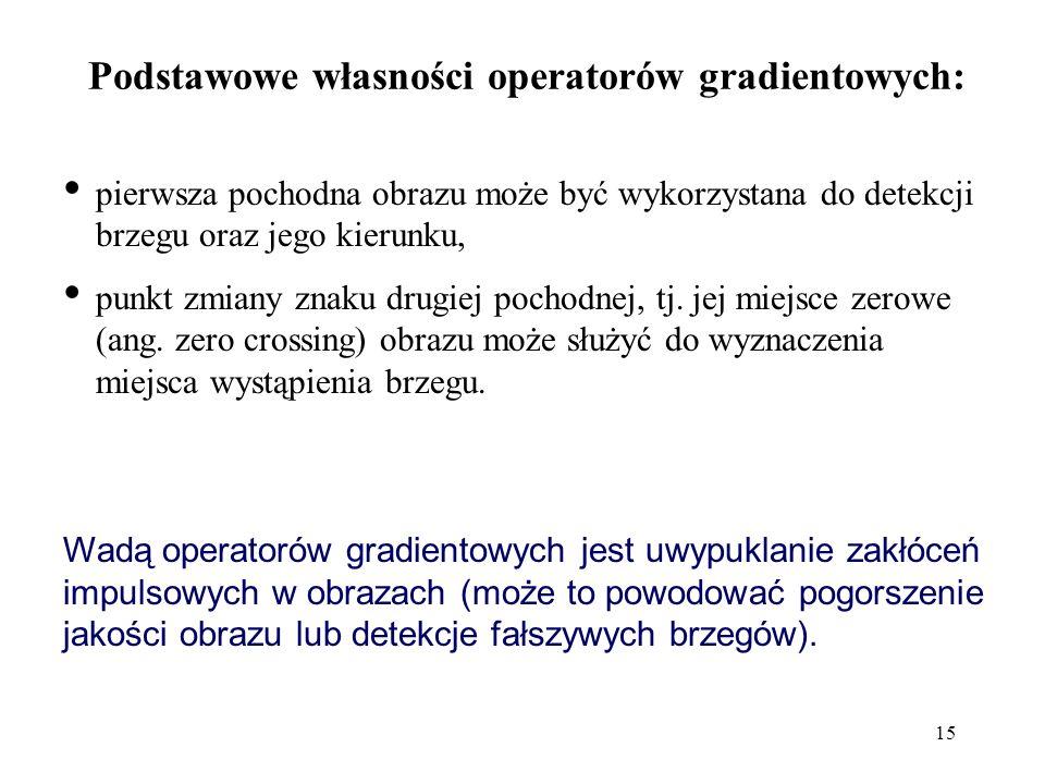 Podstawowe własności operatorów gradientowych: