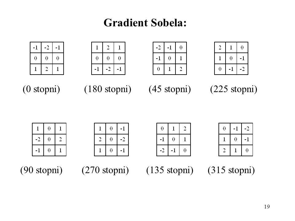 Gradient Sobela: (0 stopni) (180 stopni) (45 stopni) (225 stopni)