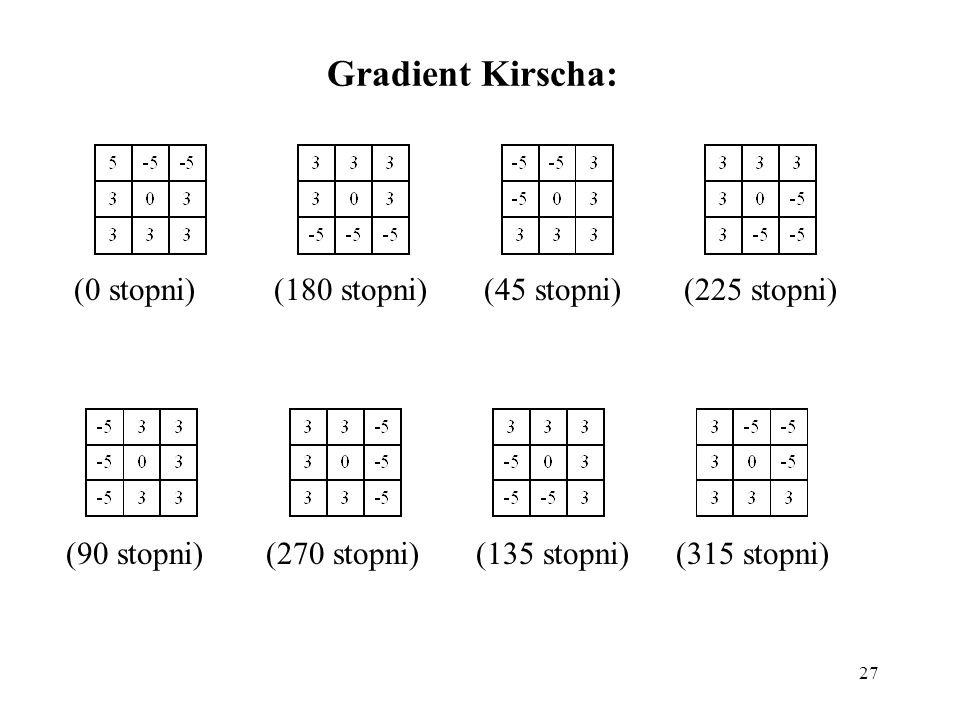 Gradient Kirscha: (0 stopni) (180 stopni) (45 stopni) (225 stopni)