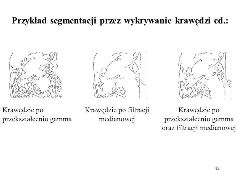 Przykład segmentacji przez wykrywanie krawędzi cd.: