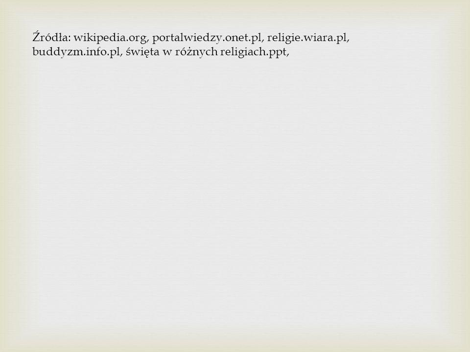 Źródła: wikipedia. org, portalwiedzy. onet. pl, religie. wiara