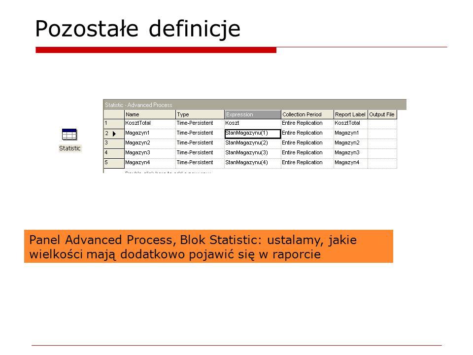 Pozostałe definicje Panel Advanced Process, Blok Statistic: ustalamy, jakie wielkości mają dodatkowo pojawić się w raporcie.