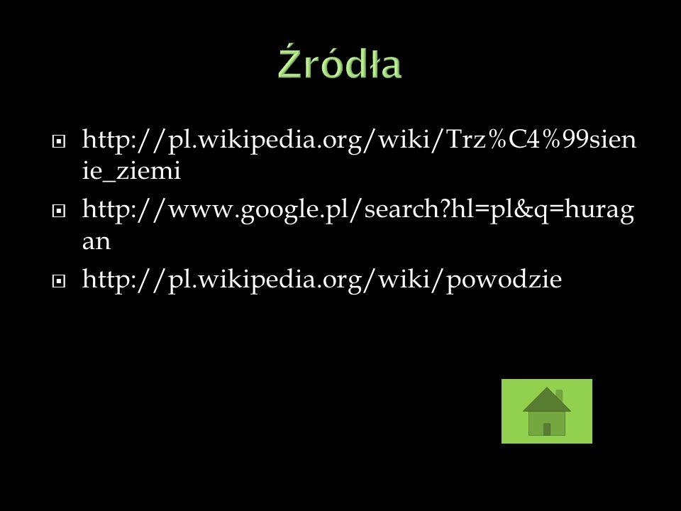 Źródła http://pl.wikipedia.org/wiki/Trz%C4%99sienie_ziemi