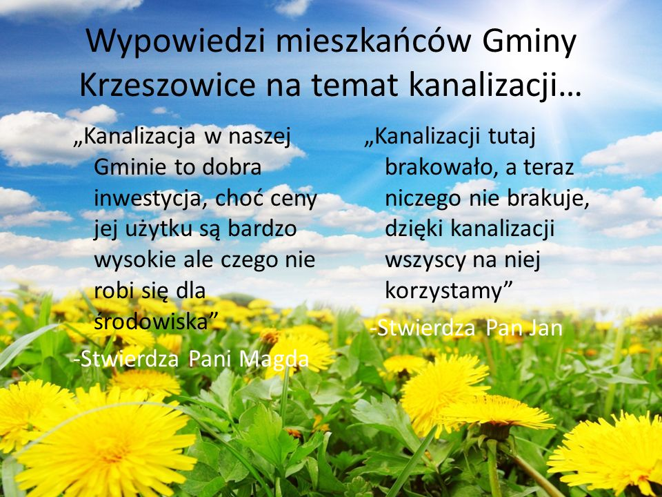 Wypowiedzi mieszkańców Gminy Krzeszowice na temat kanalizacji…