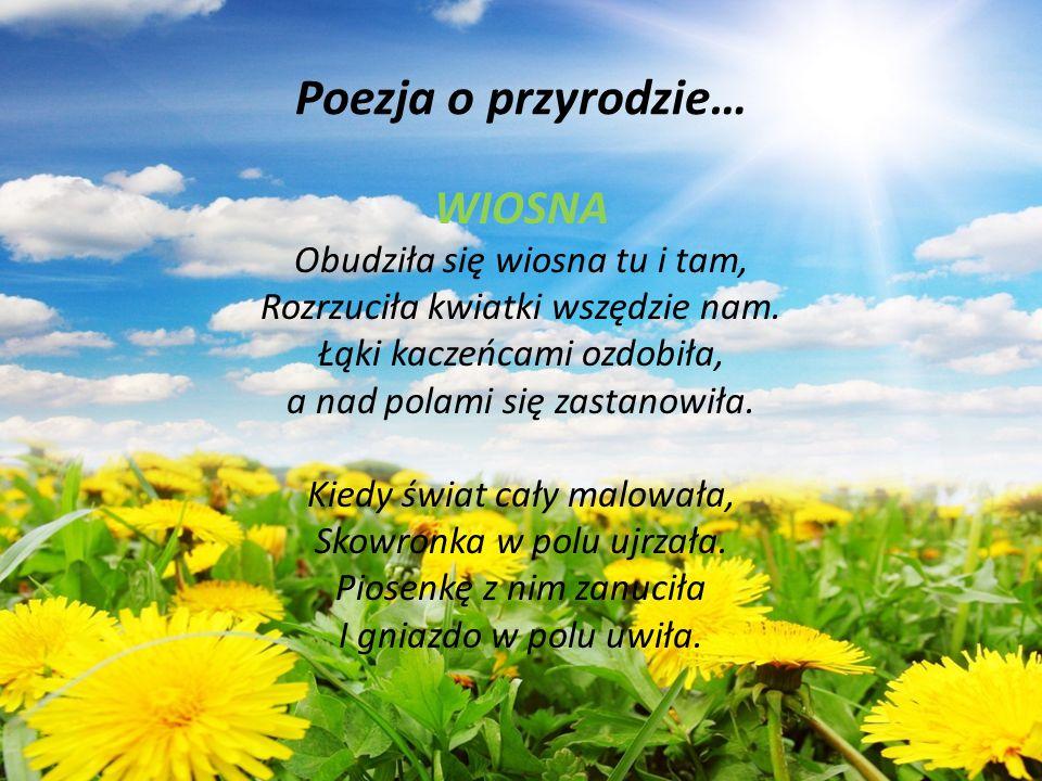 Poezja o przyrodzie… WIOSNA Obudziła się wiosna tu i tam,