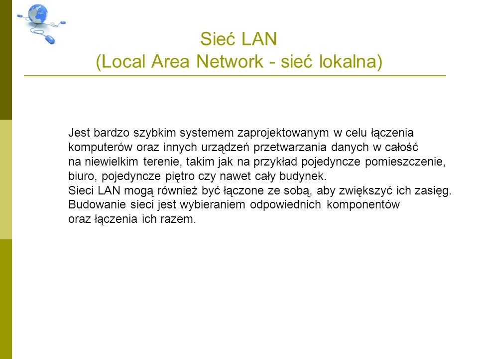 Sieć LAN (Local Area Network - sieć lokalna)