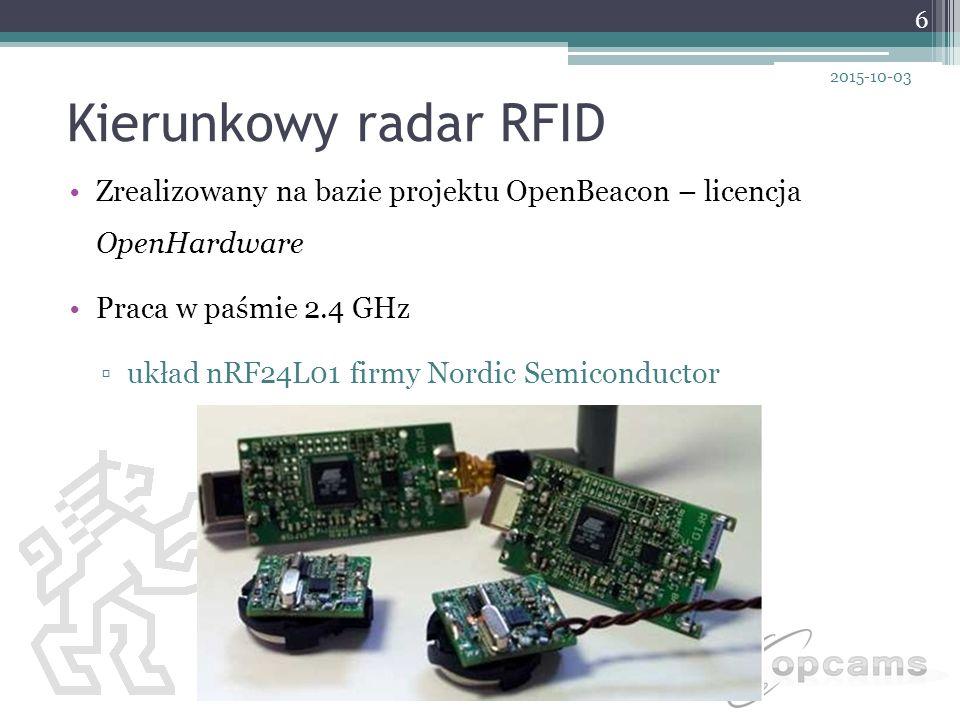 Kierunkowy radar RFID 2017-04-23. Zrealizowany na bazie projektu OpenBeacon – licencja OpenHardware.