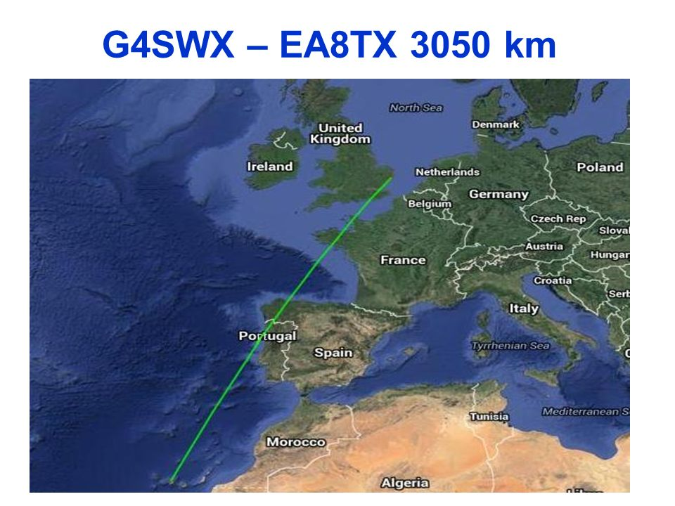 G4SWX – EA8TX 3050 km