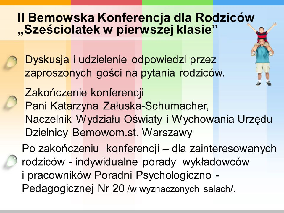 """II Bemowska Konferencja dla Rodziców """"Sześciolatek w pierwszej klasie"""