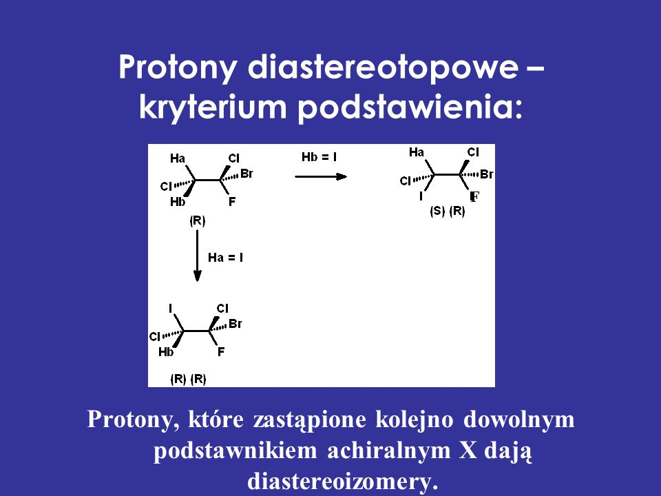 Protony diastereotopowe – kryterium podstawienia: