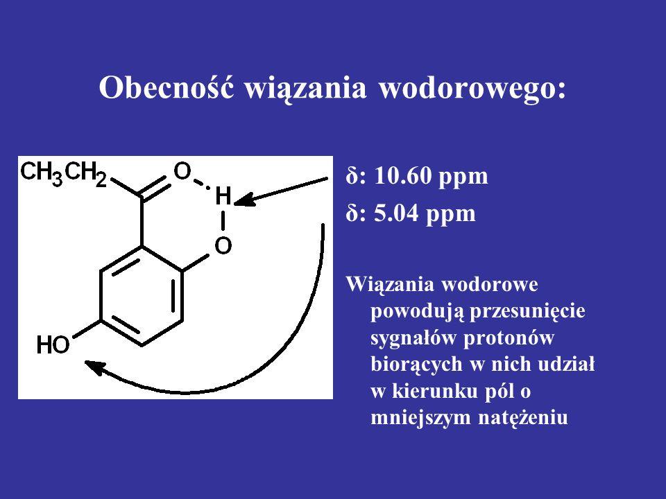 Obecność wiązania wodorowego:
