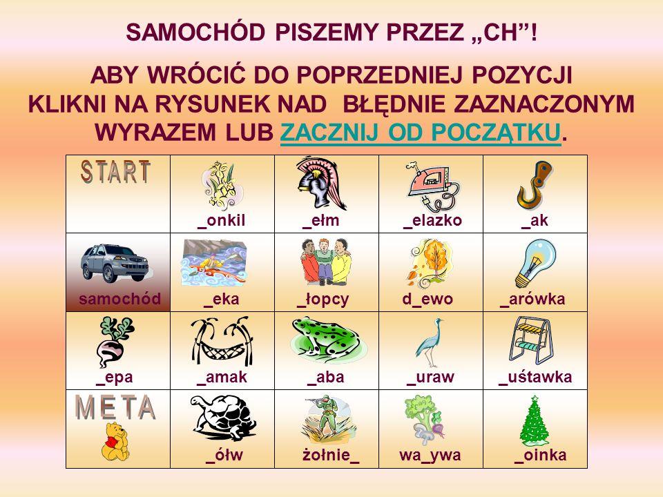 """SAMOCHÓD PISZEMY PRZEZ """"CH !"""