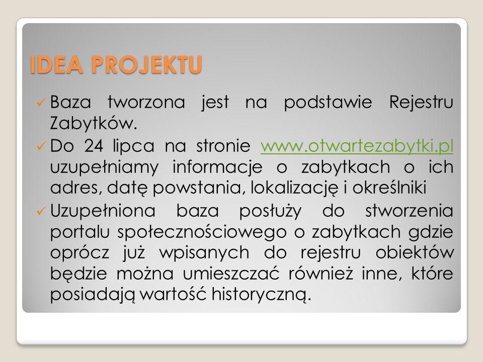 IDEA PROJEKTU Baza tworzona jest na podstawie Rejestru Zabytków.