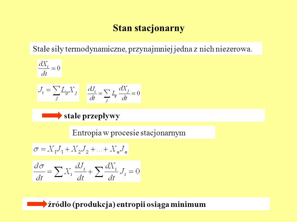 Stan stacjonarnyStałe siły termodynamiczne, przynajmniej jedna z nich niezerowa. stałe przepływy. Entropia w procesie stacjonarnym.