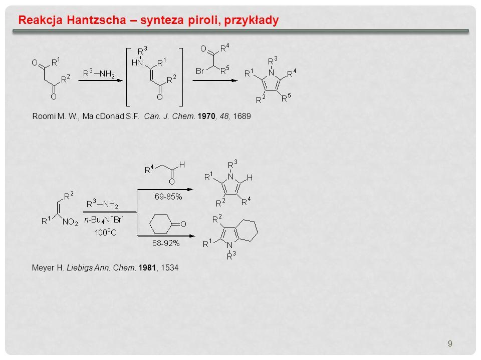 Reakcja Hantzscha – synteza piroli, przykłady