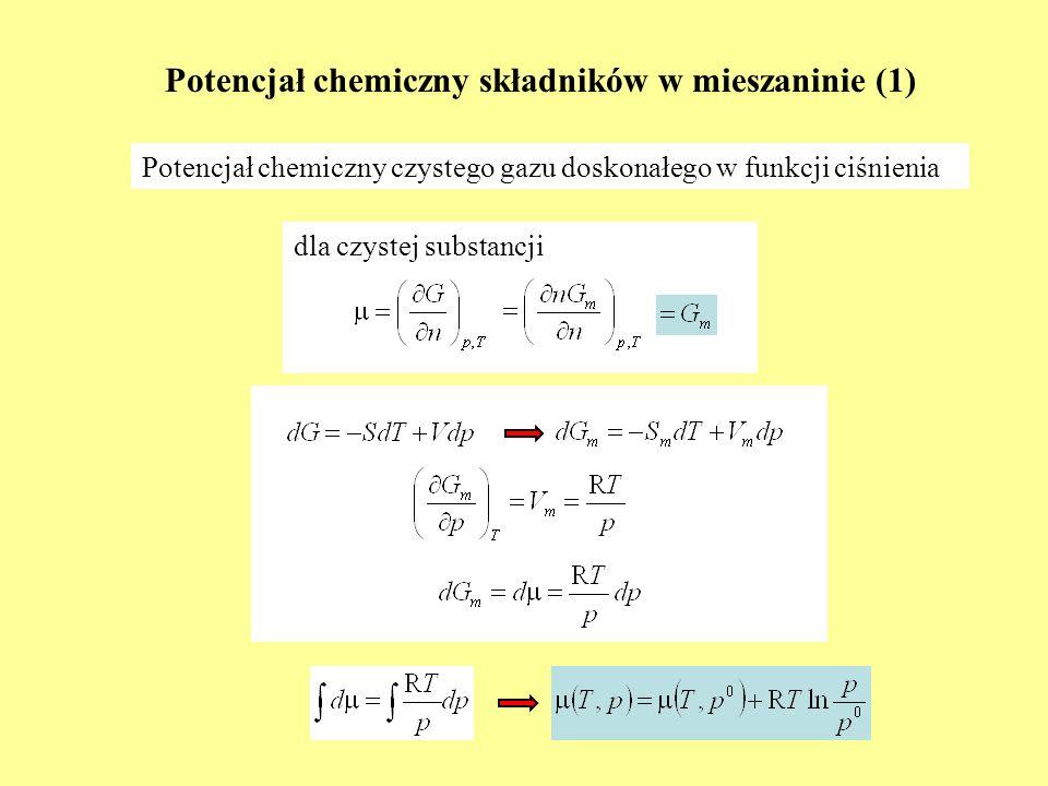 Potencjał chemiczny składników w mieszaninie (1)