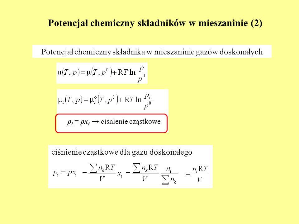 Potencjał chemiczny składników w mieszaninie (2)