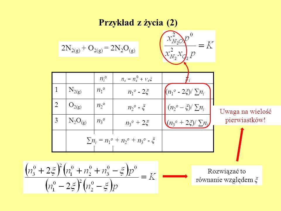 Przykład z życia (2) 2N2(g) + O2(g) = 2N2O(g) nio xi 1 N2(g) n1o 2
