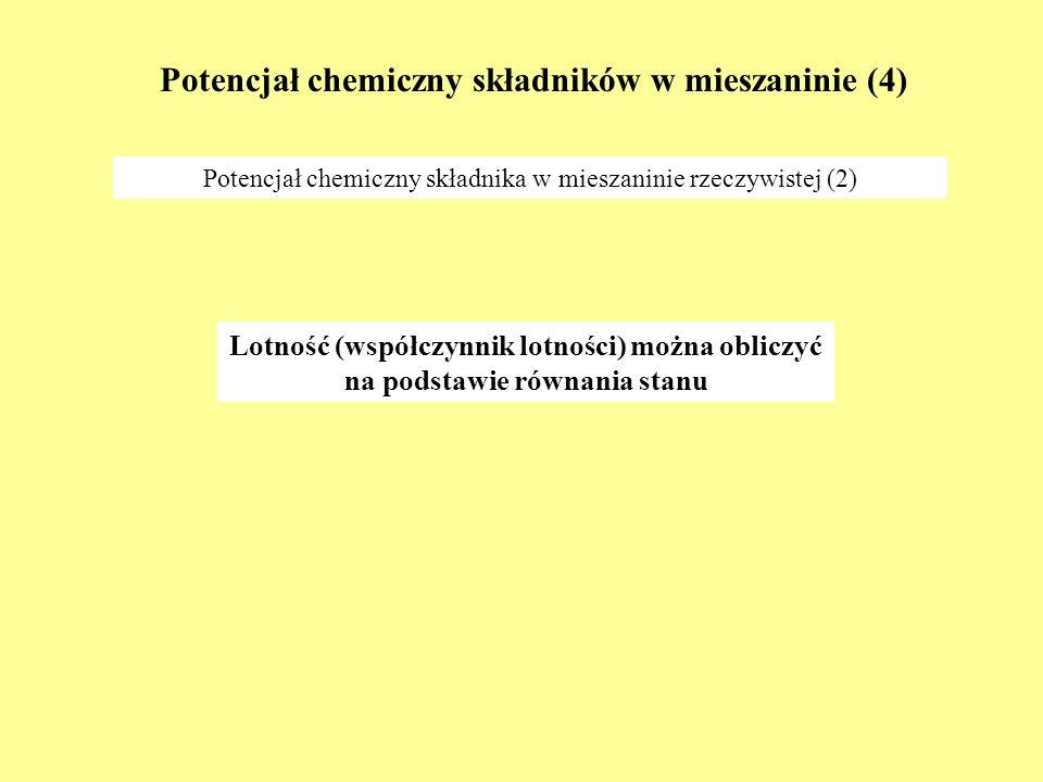 Potencjał chemiczny składników w mieszaninie (4)