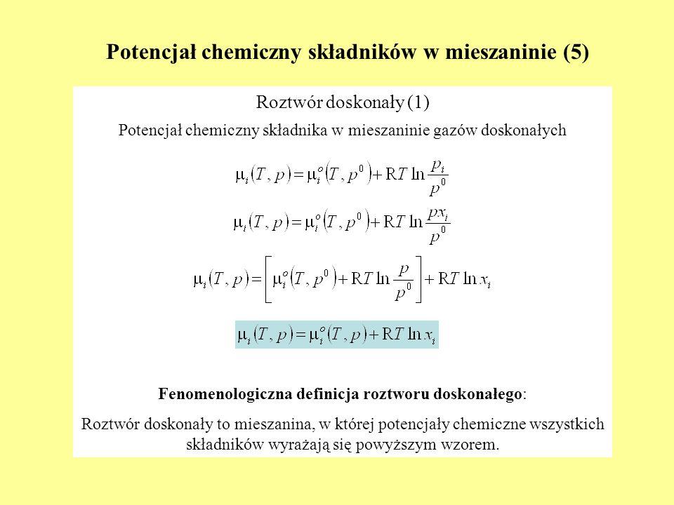 Potencjał chemiczny składników w mieszaninie (5)