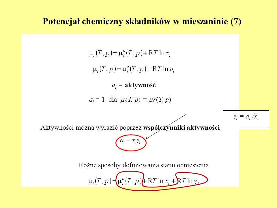 Potencjał chemiczny składników w mieszaninie (7)