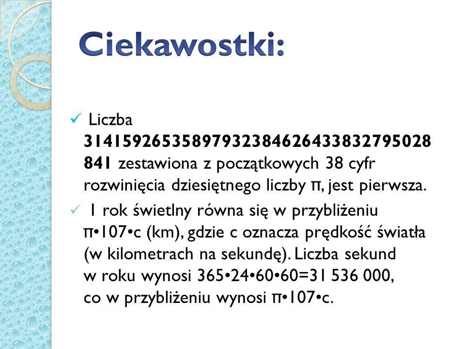 Ciekawostki: Liczba 31415926535897932384626433832795028 841 zestawiona z początkowych 38 cyfr rozwinięcia dziesiętnego liczby π, jest pierwsza.