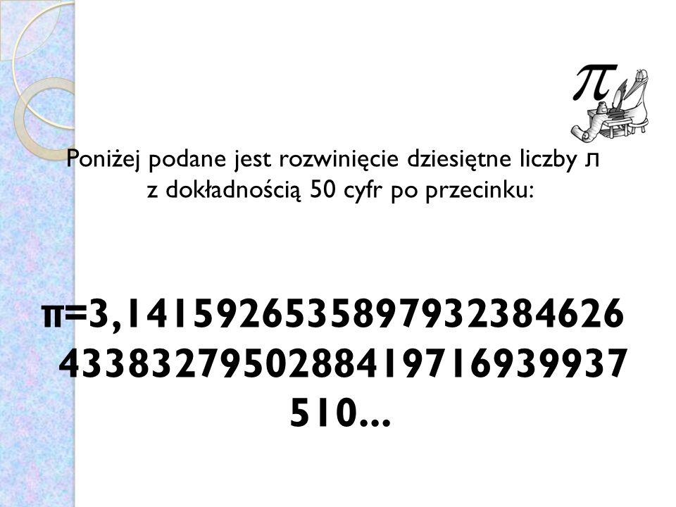 Poniżej podane jest rozwinięcie dziesiętne liczby л z dokładnością 50 cyfr po przecinku: