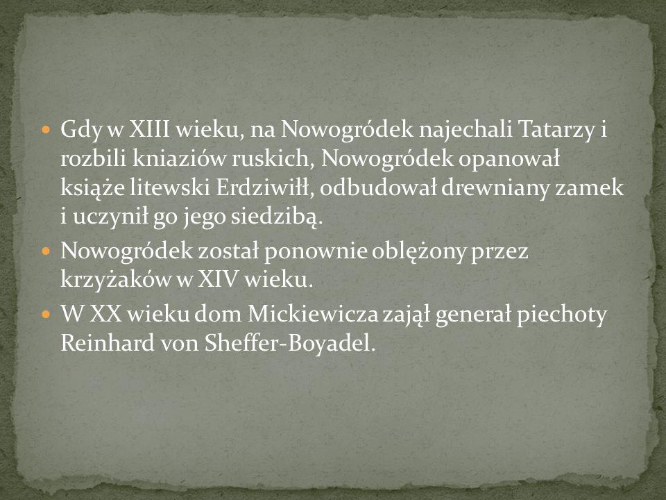 Gdy w XIII wieku, na Nowogródek najechali Tatarzy i rozbili kniaziów ruskich, Nowogródek opanował książe litewski Erdziwiłł, odbudował drewniany zamek i uczynił go jego siedzibą.