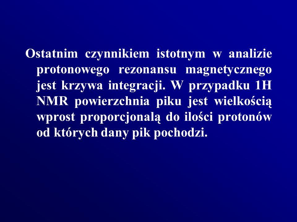 Ostatnim czynnikiem istotnym w analizie protonowego rezonansu magnetycznego jest krzywa integracji.