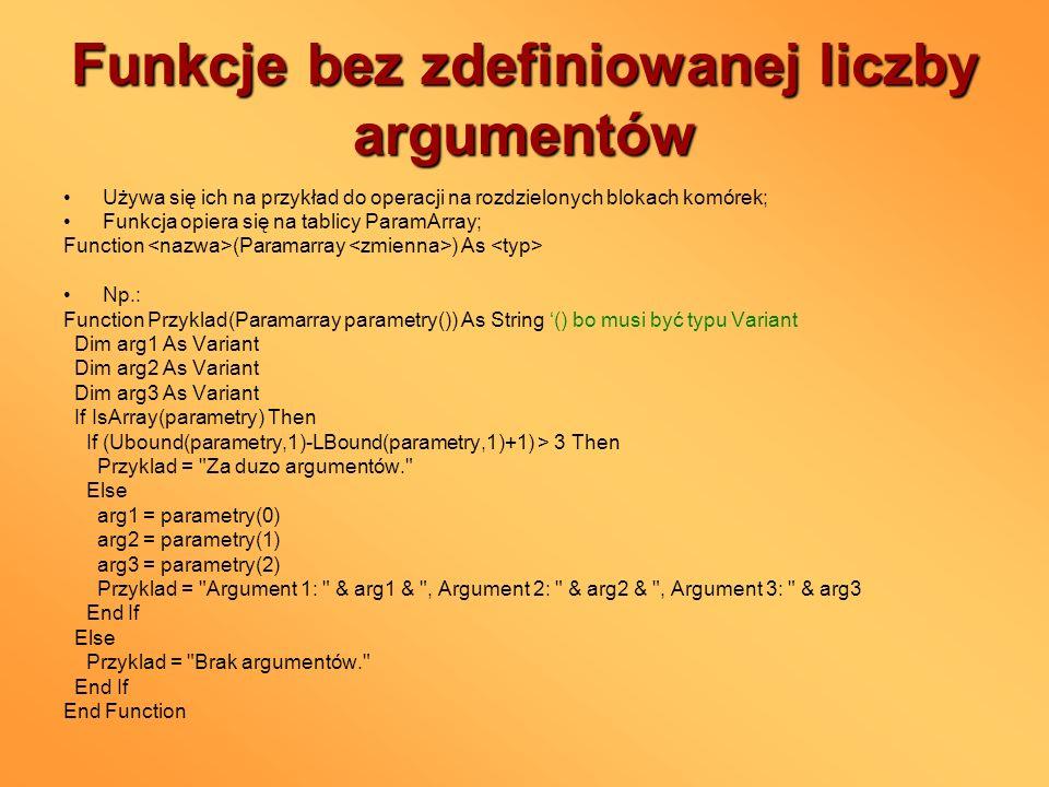 Funkcje bez zdefiniowanej liczby argumentów
