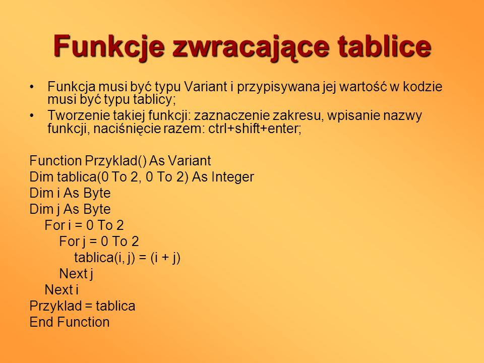 Funkcje zwracające tablice