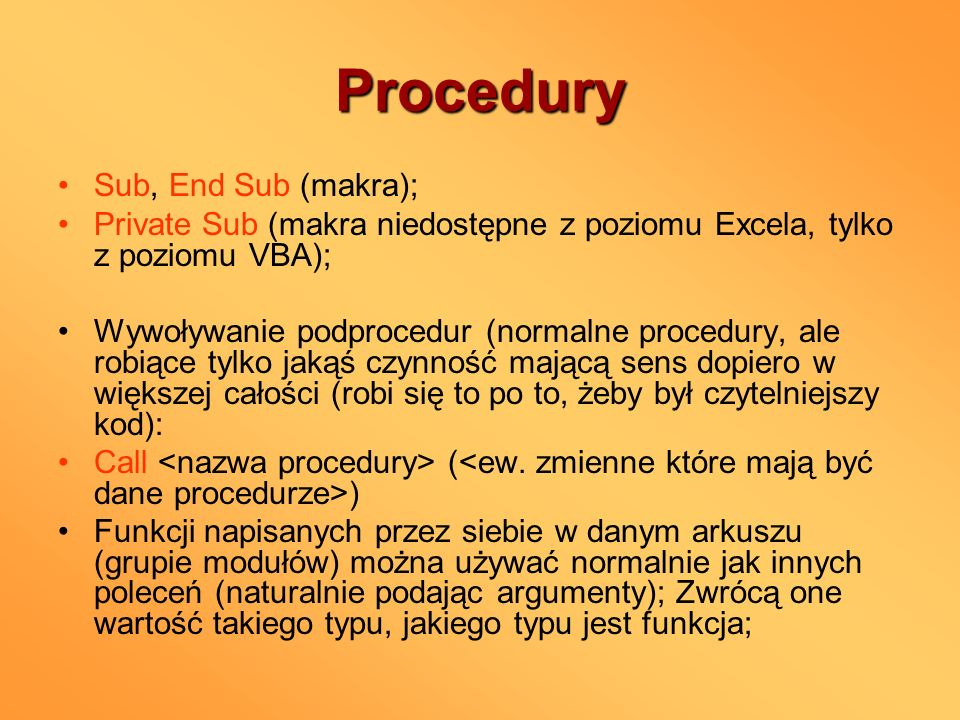 Procedury Sub, End Sub (makra);
