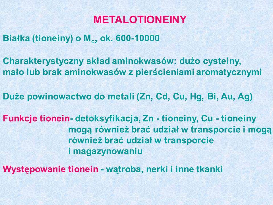 METALOTIONEINY Białka (tioneiny) o Mcz ok. 600-10000