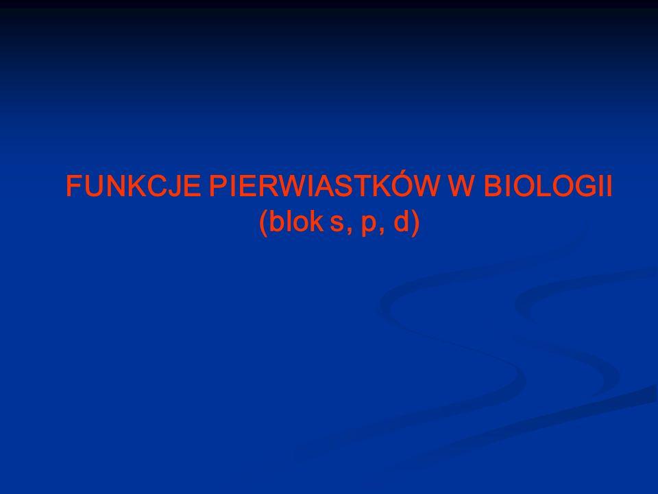 FUNKCJE PIERWIASTKÓW W BIOLOGII