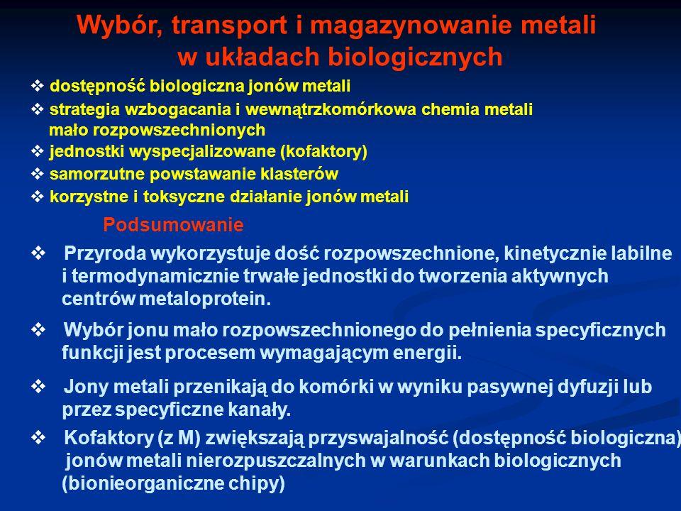 Wybór, transport i magazynowanie metali w układach biologicznych