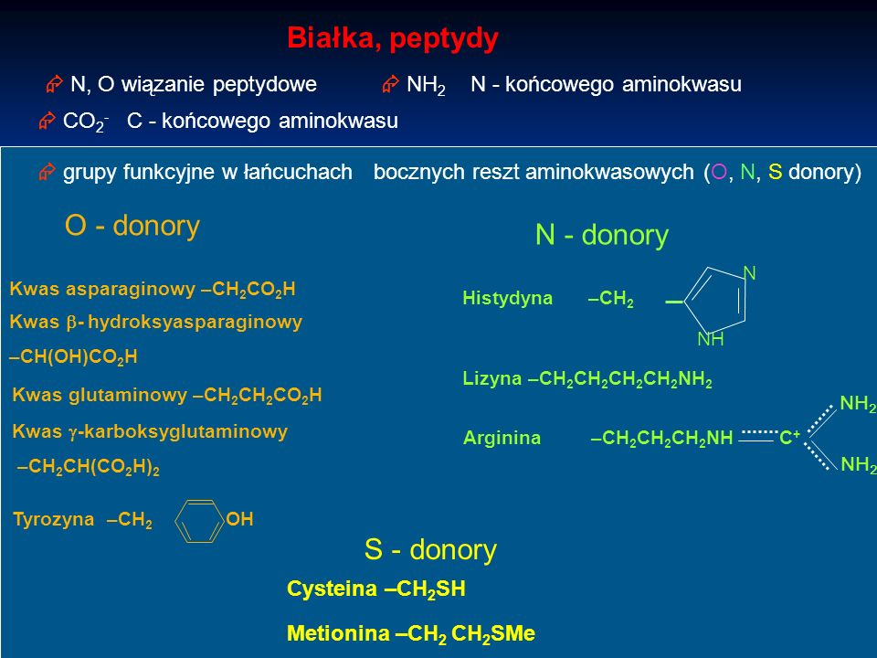 Białka, peptydy O - donory N - donory S - donory