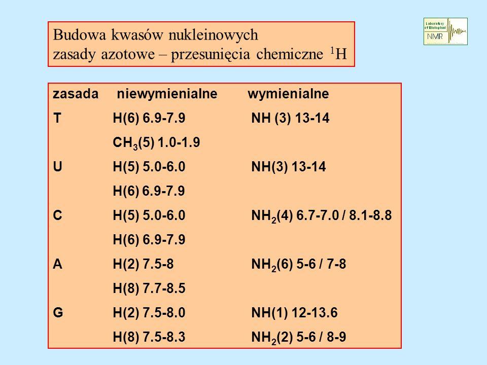 Budowa kwasów nukleinowych zasady azotowe – przesunięcia chemiczne 1H