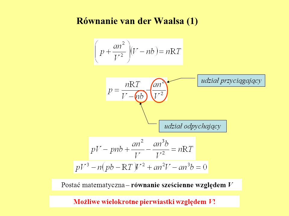 Równanie van der Waalsa (1)