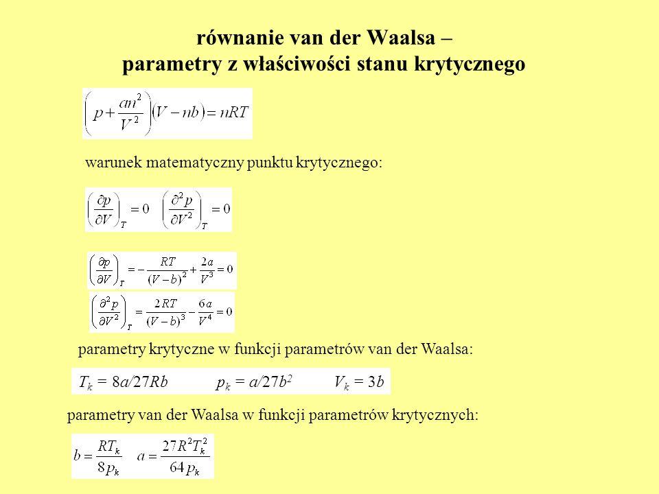 równanie van der Waalsa – parametry z właściwości stanu krytycznego